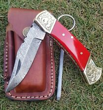 HP Pocket Folding Knife Camping Hunting Fishing Stainless Steel leather pouch