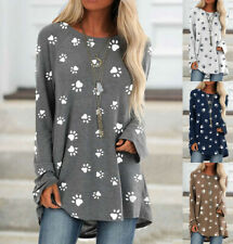 Plus Size Womens Long Sleeve Cat Paw Print Tee Top Casual T-shirt Blouse UK 6-24