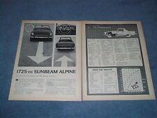 1967 Sunbeam Alpine 1725-cc Vintage Road Test Info Article