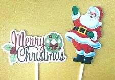2 X Large Christmas Cake Toppers Santa Merry Christmas Made From Card