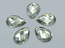 100 Clear Flatback Acrylic Rhinestone TearDrop Gem Beads 13X18mm No Hole