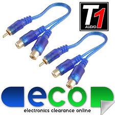 T1 Car Audio Amp Azul Ofc Rca Phono Amplificador Splitter 1 Macho 2 Hembra (par)