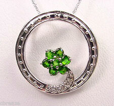 RUSSIAN CHROME DIOPSIDE  & TOPAZ 14K WHITE GOLD PENDANT & CHAIN