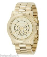 MICHAEL KORS GOLD TONE OVERSIZE RUNWAY CHRONOGRAPH WATCH-MK8077-NEW+BOX