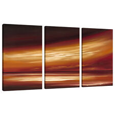 Set of 3 Panel Brown Abstract Sunset Canvas Wall Art Pictures XXL 3147