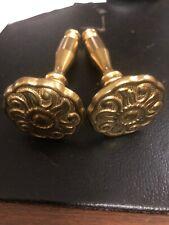 2 Vintage Brass Medallion Swirl Scarf Curtain Holder Drape Holdback.