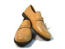 VTG Men's Dress Shoes Light Brown Leather Strap Slip On Loafer USA NEW 12 E