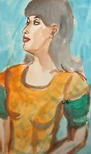 Vintage fauvist watercolor painting woman portrait