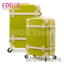 "EDDAS Green 20"" Luggage Spinner Wheel Vintage Hard Shell Suitcase EV501"