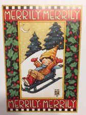 Vintage Mary Engelbreit Merrily Merrily Merrily Clip Art Repurpose Calendar Page