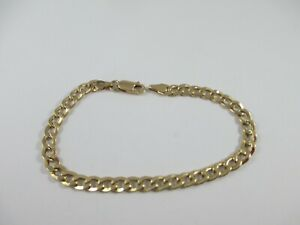 """LOVELY FULLY HALLMARKED 9ct YELLOW GOLD, 7.25"""" CURB BRACELET 3.4g  5mm WIDE"""