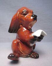 Vintage Goebel W. Germany Comical Singing/Reading Dachshund Dog Figurine #33136