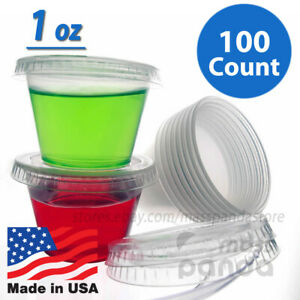 100ct 1 oz Dart Small Jello Shot Portion Cups with Lids Option, Clear Plastic