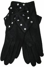 RJM Ladies Soft Fleece Gloves With Large Studded Bow One Size