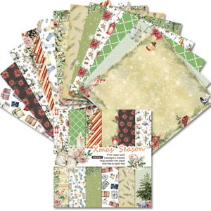 12Pcs Christmas Paper Pad Scrapbooking Happy Planner Making Journal Album DIY