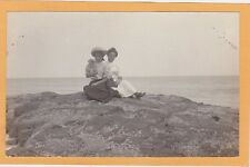 Real Photo Postcard RPPC Affectionate Women near Water Possible Lesbian Interest