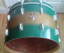 "Vintage 1961 Slingerland 22"" Gold & Green Rare Duco Finish Bass Drum w/hardware"