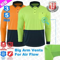 HI VIS Polo Shirts 3 5 Pack Arm Vents Safety Workwear Cool Dry LONG SLEEVE