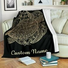 Personalized Turtle Zodiac Blanket, Sea Turtle Lover Blanket For Child & Adult