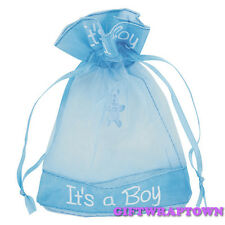 1 x New Baby Shower il suo un sacchetto di ORGANZA BLU BOY ASTUCCIO GRATIS!