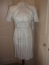 DRESS CODE SUIT SIZE 14 MOTHER OF THE BRIDE BRAND NEW WHITE AND SILVER