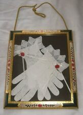 Vintage Antique Pair White Crochet Wedding Gloves Framed,Old Frame Wall Decor