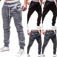 Men Sport Pants Zipper Trousers Tracksuit Fitness Workout Joggers Gym Sweatpants