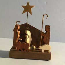 Jerry Krider Claywood Creations Nativity Handcrafted Multi Wood Relief Sculpture