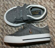 New! Toddler Boys Ralph Lauren Polo Easten Shoes (No lace to tie! Gray) Size 5 C