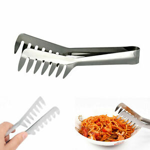 New Stainless Steel Spaghetti Pasta Clip Clamp BBQ Tongs Bread Salad Tong