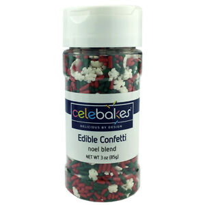 Christmas Noel Blend Edible Confetti 91gm for Cupcakes, Cookies & Candy