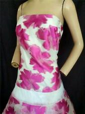 "HOT PINK AND WHITE STRAPLESS FLORAL FULL PROM, EVENING DRESS-38"" BUST"