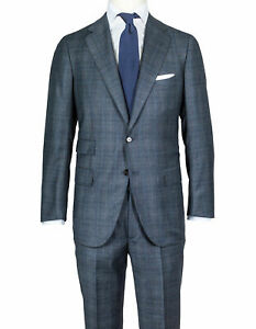Cesare Attolini Suit Grey-Blue Glencheckmuster From Super 170'S Wool/Cashmere
