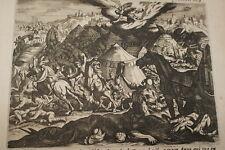 GRAVURE SUR CUIVRE DEFAITE SENNACHERIB-BIBLE 1670 LEMAISTRE DE SACY (B126)