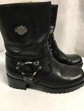 Harley Davidson Motorcycle Boots Size 6 Ashby Black Mid  Zip Up Boots
