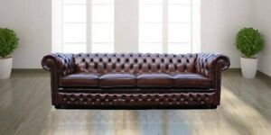 Chesterfield Winchester 4 Seater Antique Brown Real Leather Sofa Uk Handmade