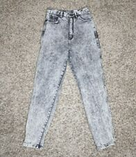 Vintage 80s Acid Wash Pure Jeanswear ♡ Womens High Waist Tapered Mom Jeans Sz 13