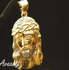 Men Women Real 10k Gold Two Tone Jesus Face Pendant Charm Piece 10k Gold