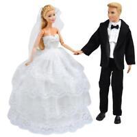 Prinzessin Brautkleid Kleid Kleidung + Anzug Outfit für Barbie Ken Doll