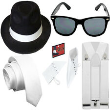 MENS WOMEN 1920S GANGSTER B HAT GLASSES W TIE BRACE SPAT SET FANCY DRESS COSTUME