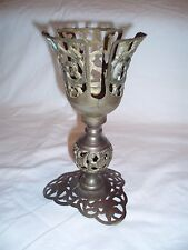 "Very Unique Vintage Brass 7.5"" Tall 5"" Fancy Chalice? Candle Holder? *"
