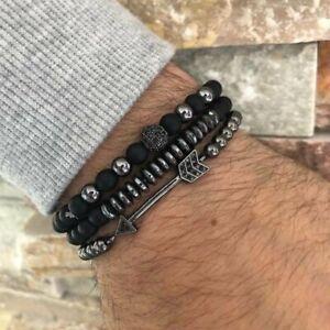3Pcs Men's Punk Black Beads Stainless Steel Arrow Bracelet Bangle Party Jewelry