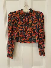 BNWT Pull & Bear Floral Cropped Puff Sleeve Top Blouse Size M Red Orange