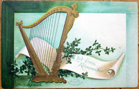 1908 St. Patrick's Day Postcard: Clapsaddle/Artist-Signed, Harp - Embossed Litho