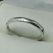 18ct White Gold 2mm Patterned & Unusual Shaped Wedding Band / Ring, Size O