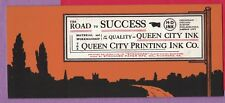 Vintage Adv Blotter Queen City Printing Ink Co Silhouette Road Boston Chicago