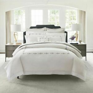 MATOUK COSMO PERCALE QUEEN DUVET COVER 3pc SET 2 SHAMS GRAY FLOWER EMBROIDERED