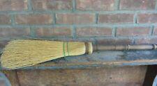 Vintage Hearth Broom; Turned Handle and Straw
