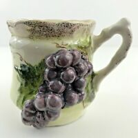 Vintage China Tea Cup w/ Bag Holder Strainer Gold Trim Grapes Handpainted SIGNED