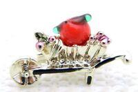 VTG Gold Tone Apple Glass Fruit Enamel Wheelbarrow Pin Brooch